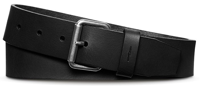 Team your black shoes with a black belt like this simple Shinola leather belt