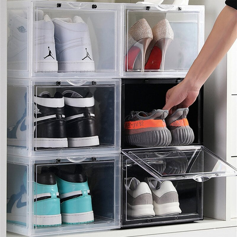 This sneaker shoe box owns a magnetic adsorption design for easy access, the bottom card slot design, the stack is solid and does not fall