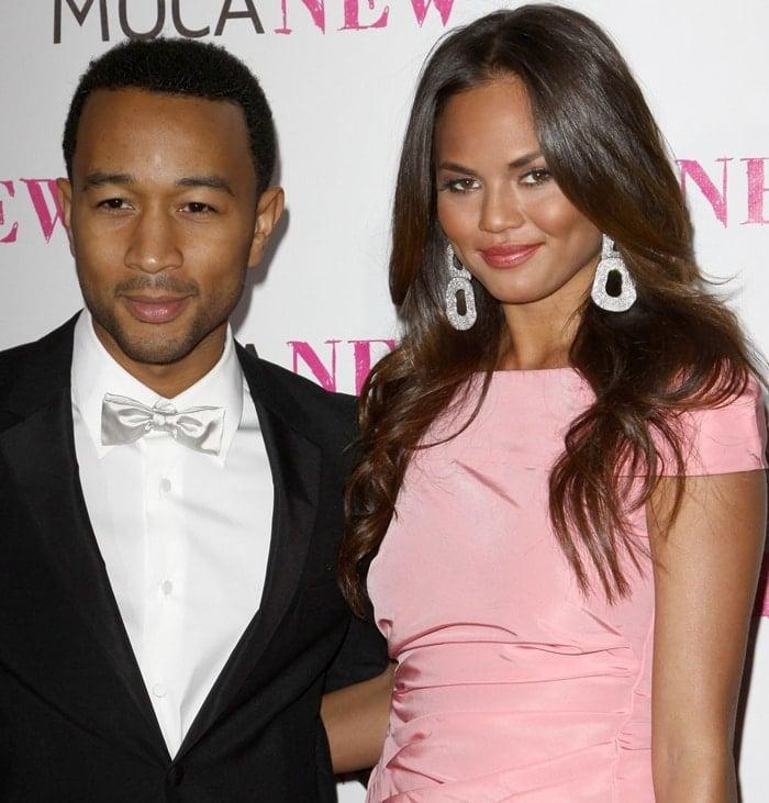 Singer John Legend (L) and model Chrissy Teigen arrive at the MOCA NEW 30th anniversary gala