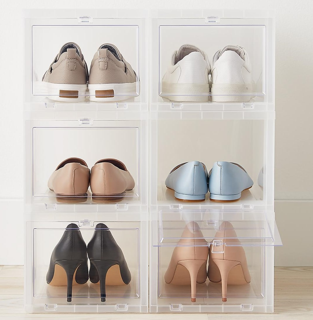 The clear window of this small drop-front shoe box lets you immediately see the pair stored inside