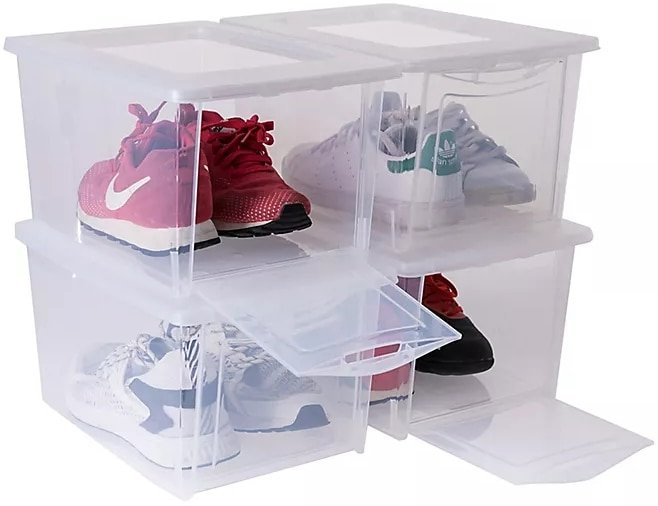 With a convenient drop front opening, this set of clear plastic storage boxes are perfect to store shoes and makes it easy to see what is inside