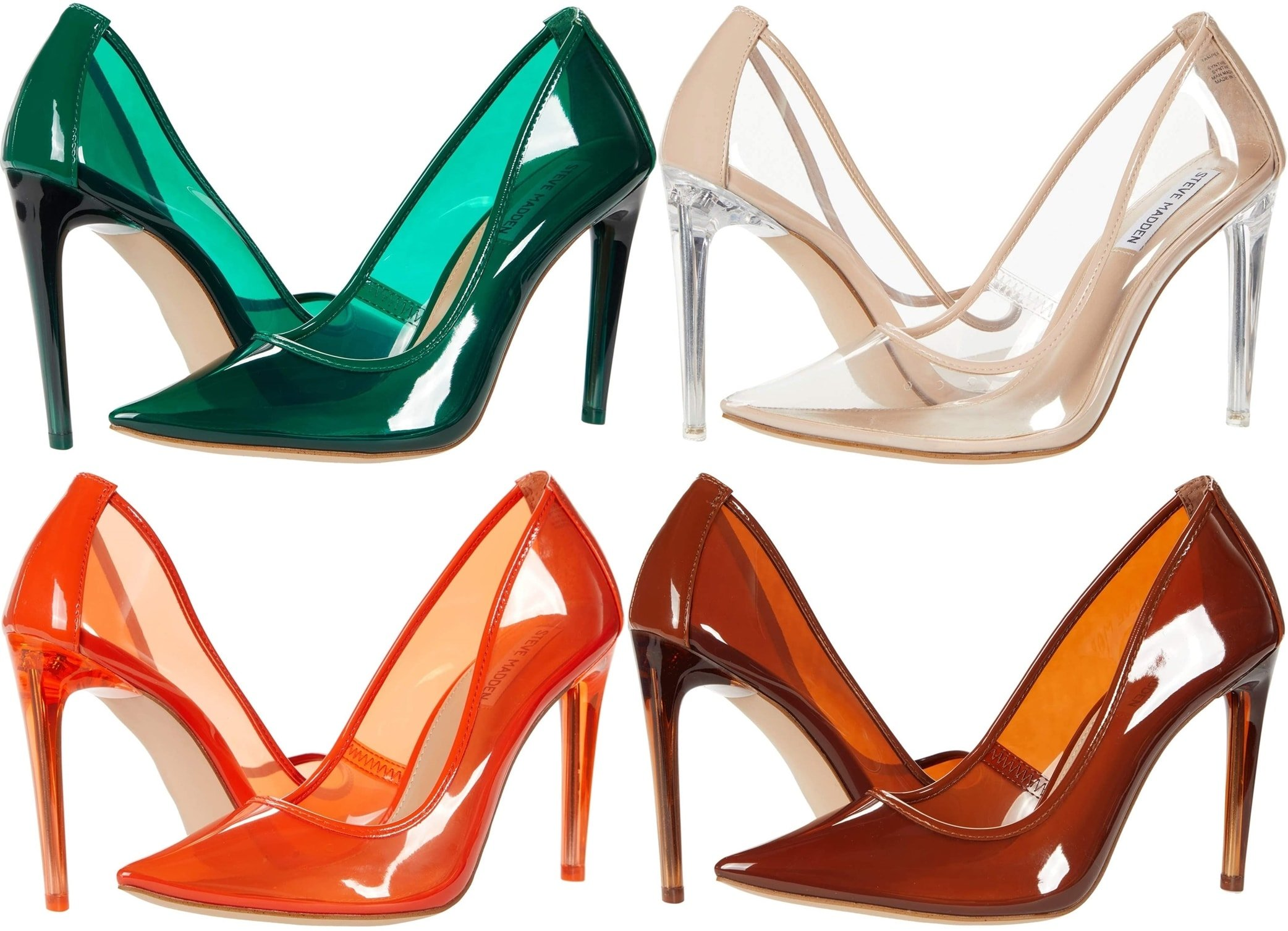 Transparent Steve Madden high heel pumps in orange, green, clear, and tan colors