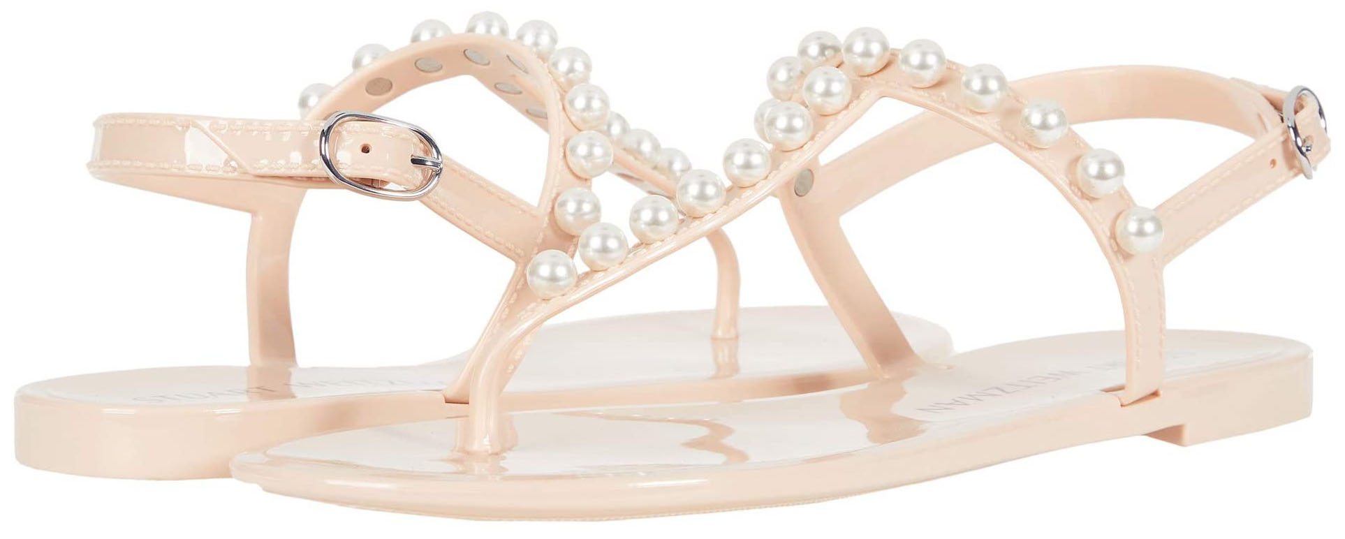 Jelly sandals like Stuart Weitzman's Goldie are perfect for rainy summer days