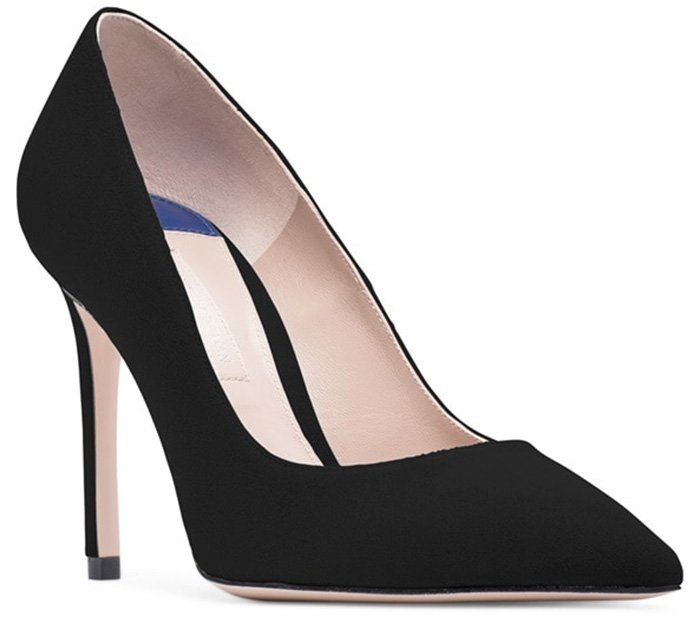 Classic point-toe pumps finished in a versatile suede