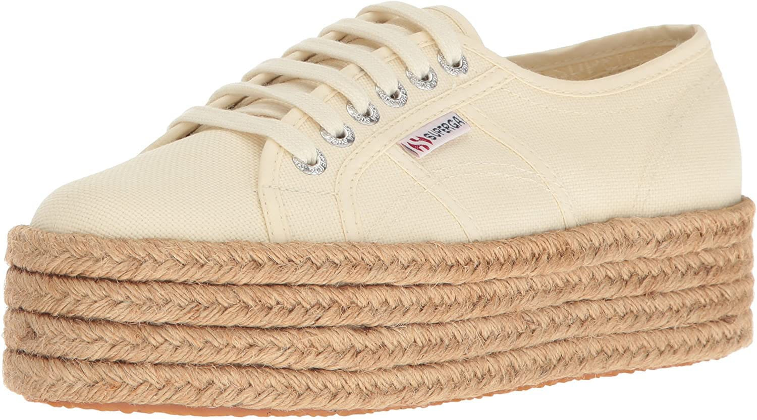Give your floral dress a boyish twist with these elevated Superga espadrille sneakers