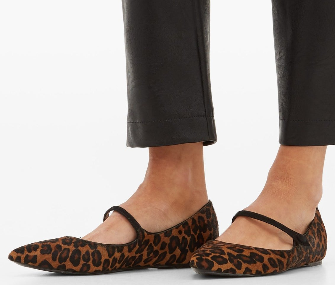 These leopard-print Hermione flats from Tabitha Simmons are made in Italy from calf hair to a point-toe silhouette with a smooth suede Mary-Jane strap