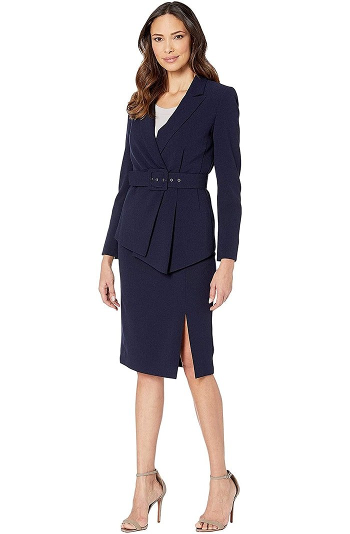A coordinating skirt suit is perfect for those who want to give off a feminine yet powerful vibe