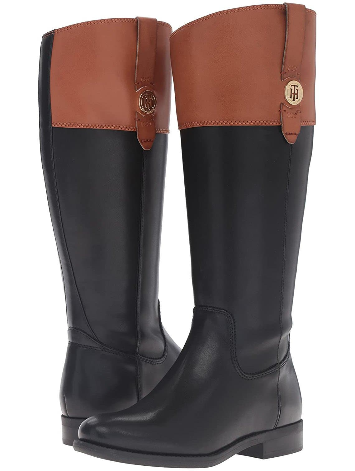 A classic pair of Tommy Hilfiger riding boots that feature the label's gold logo medallion at the sides