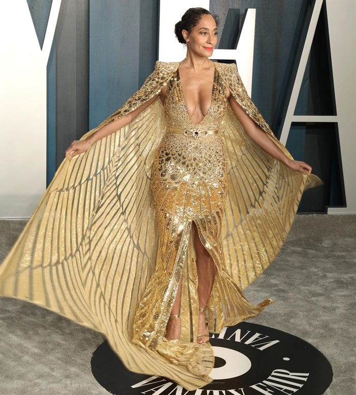Tracee Ellis Ross in a gold Zuhair Murad gown the 2020 Vanity Fair Oscar Party Celebrating the 92nd Annual Academy Awards