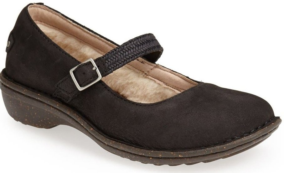 A roomy Mary Jane from UGG features a braided strap and moisture-wicking textile made entirely from wool but crafted to feel and wear like genuine shearling