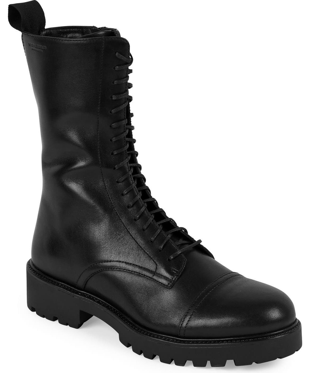 Vagabond Shoemakers' Kenova combat boots have the classic combat boots features—from the leather upper to the cap toes, lace-up fastenings, and lug soles