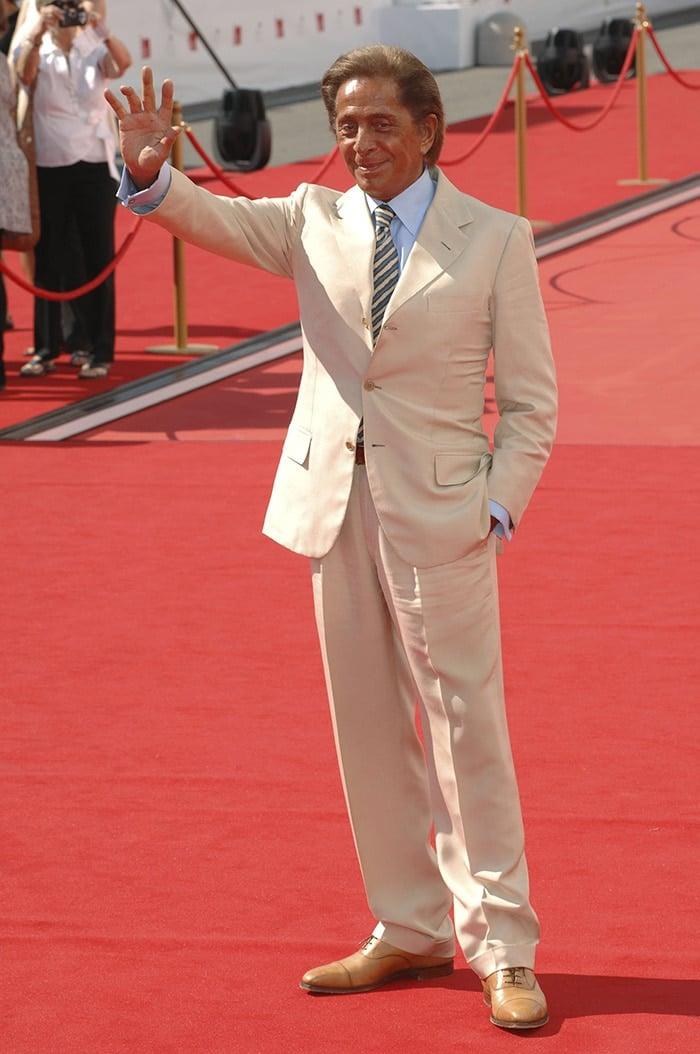 Valentino Garavani at the 65th Venice Film Festival premiere of his documentary Valentino: The Last Emperor on August 28, 2008