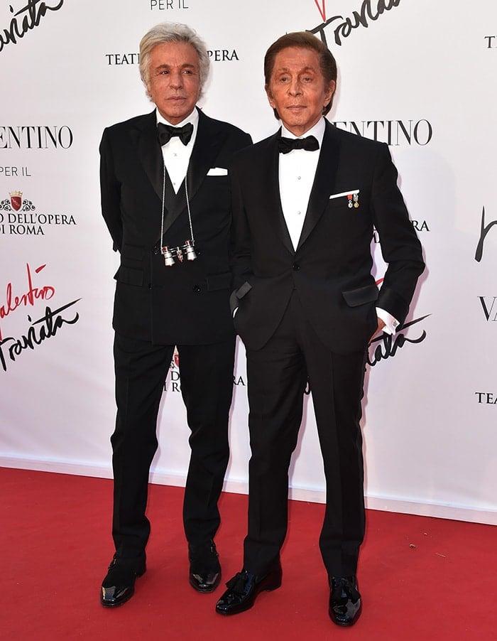 Valentino Garavani and Giancarlo Giammetti at the La Traviata opening gala in Rome on May 22, 2016