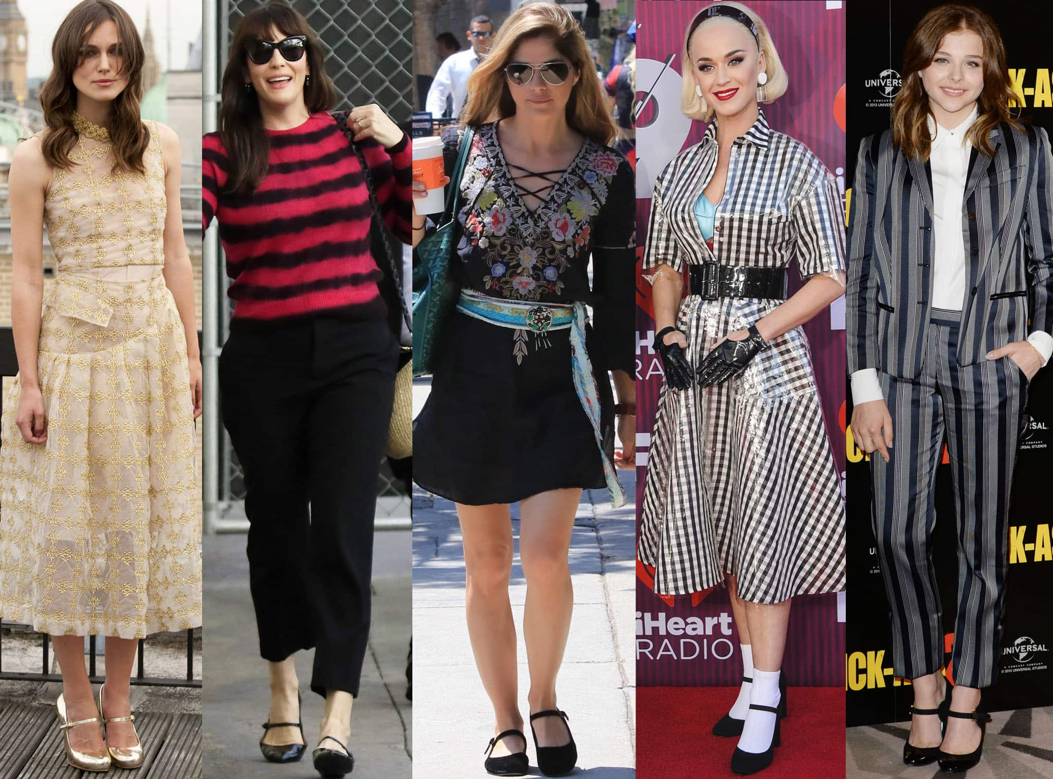 Keira Knightley, Liv Tyler, Selma Blair, Katy Perry, and Chloe Moretz show how to wear Mary Jane shoes with chic outfits