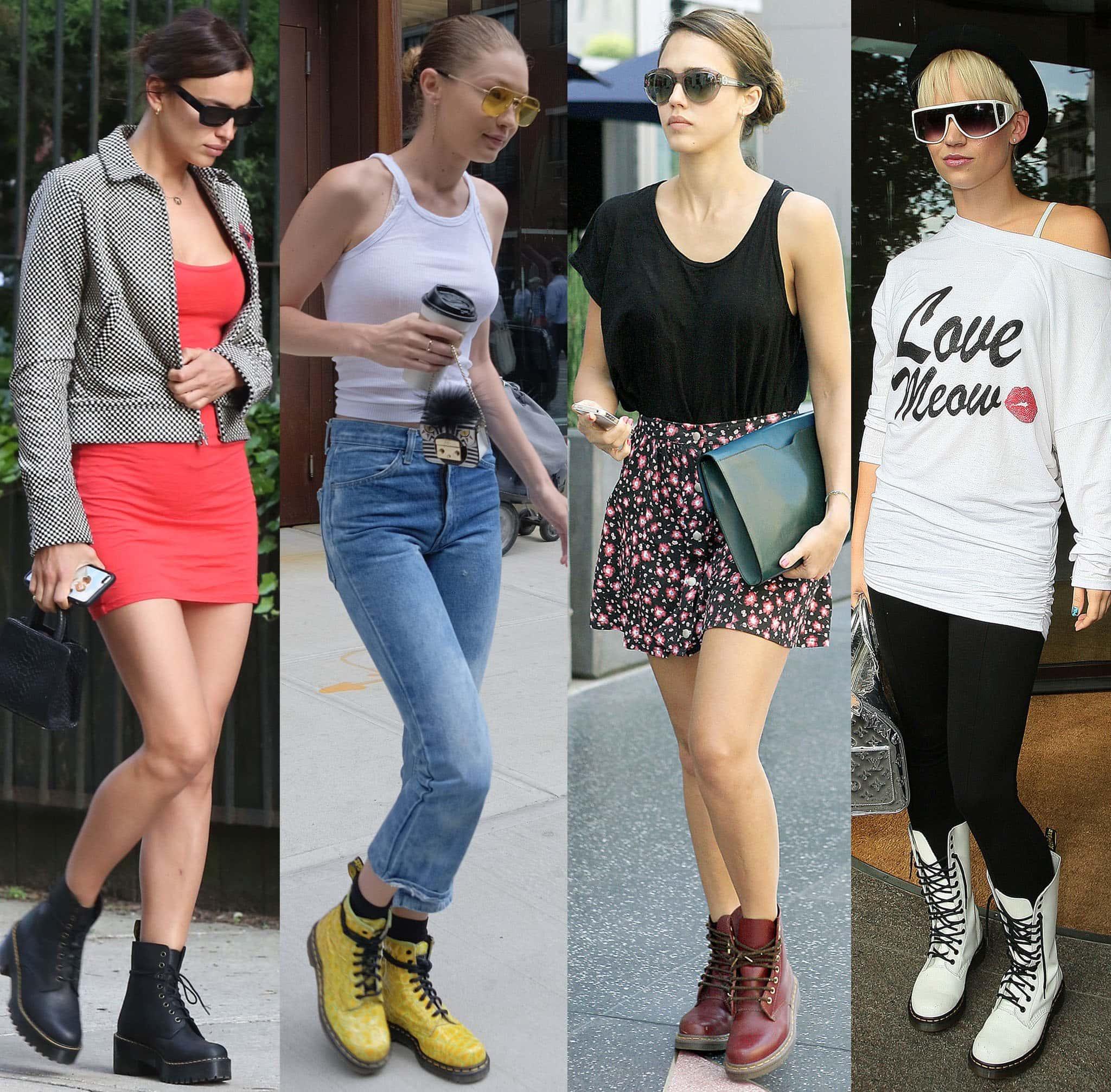 Irina Shayk, Gigi Hadid, Jessica Alba, and Kimberly Wyatt show different ways to wear Dr. Martens' combat boots