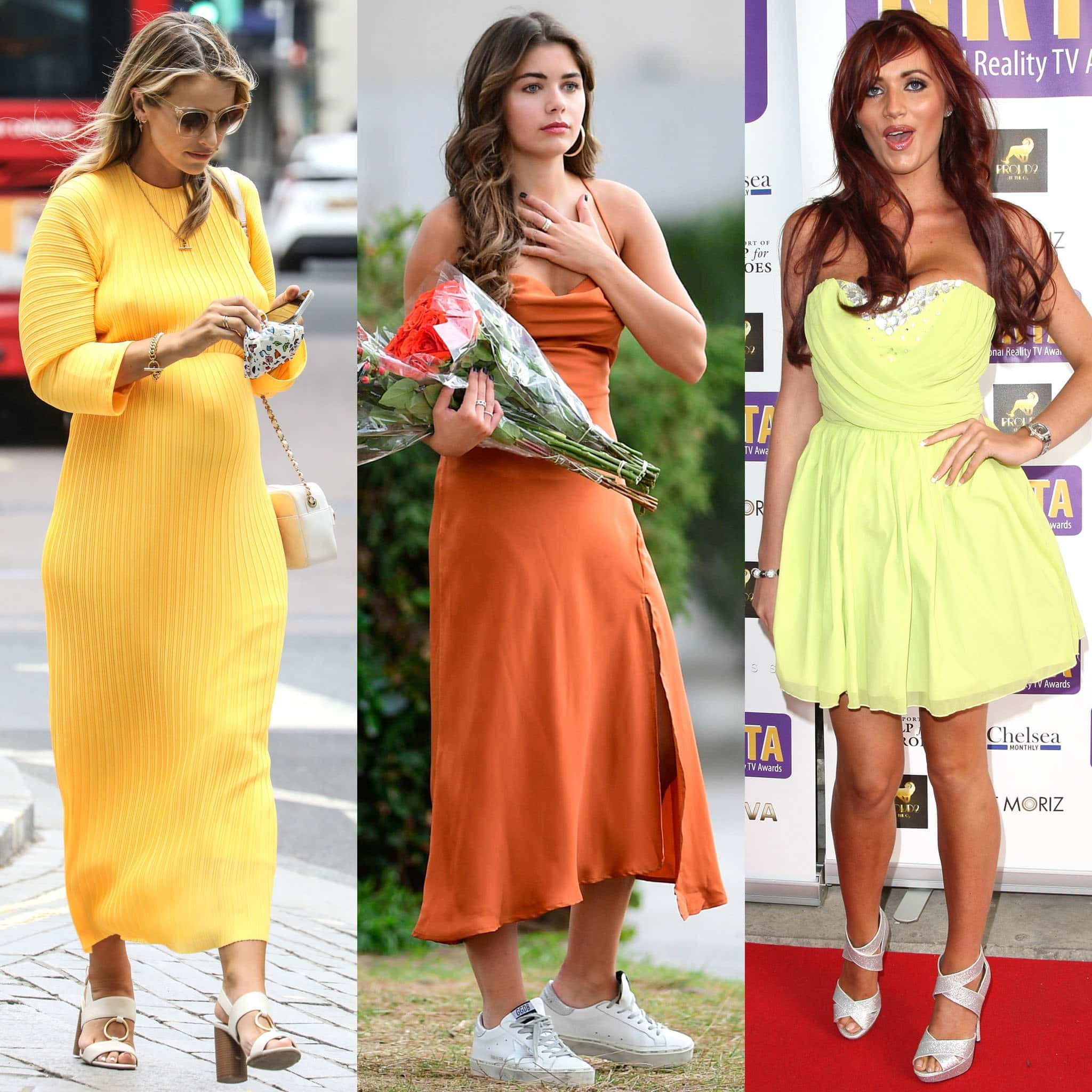 Vogue Williams, Hannah Ann Sluss, and Amy Childs pair their citrus dresses with light-colored shoes
