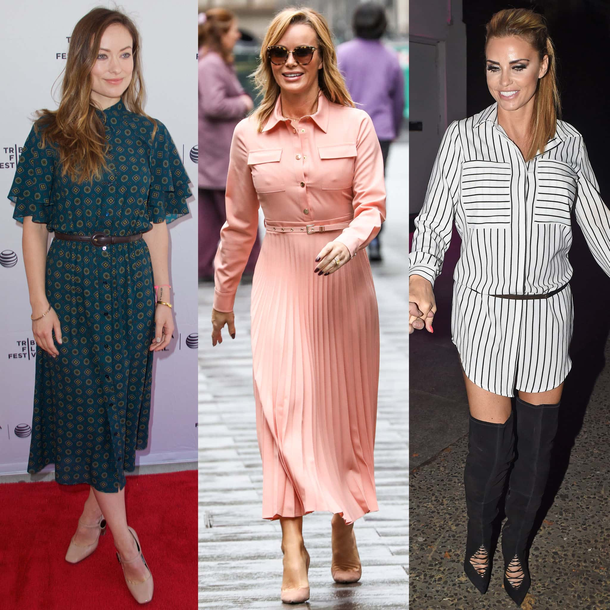 Olivia Wilde, Amanda Holden, and Katie Price show the versatility of shirtdresses with heels and boots