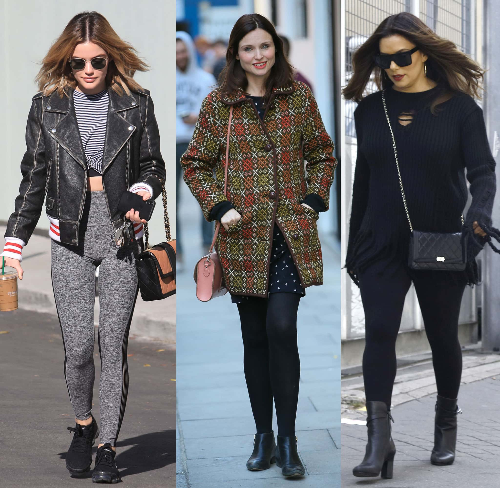 Lucy Hale, Sophie Ellis Bextor, and Eva Longoria show street-chic outfits with leggings