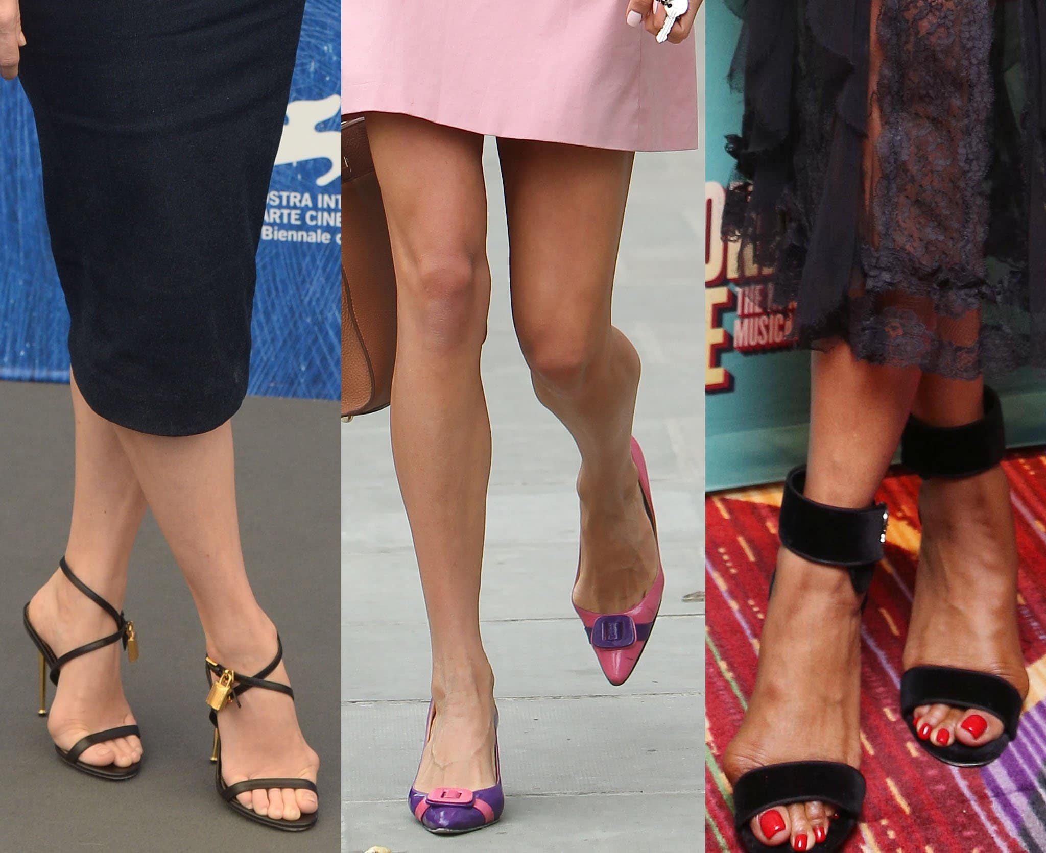 Celebrities (left to right: Amy Adams, Amal Clooney, and Naomi Campbell) with bunions