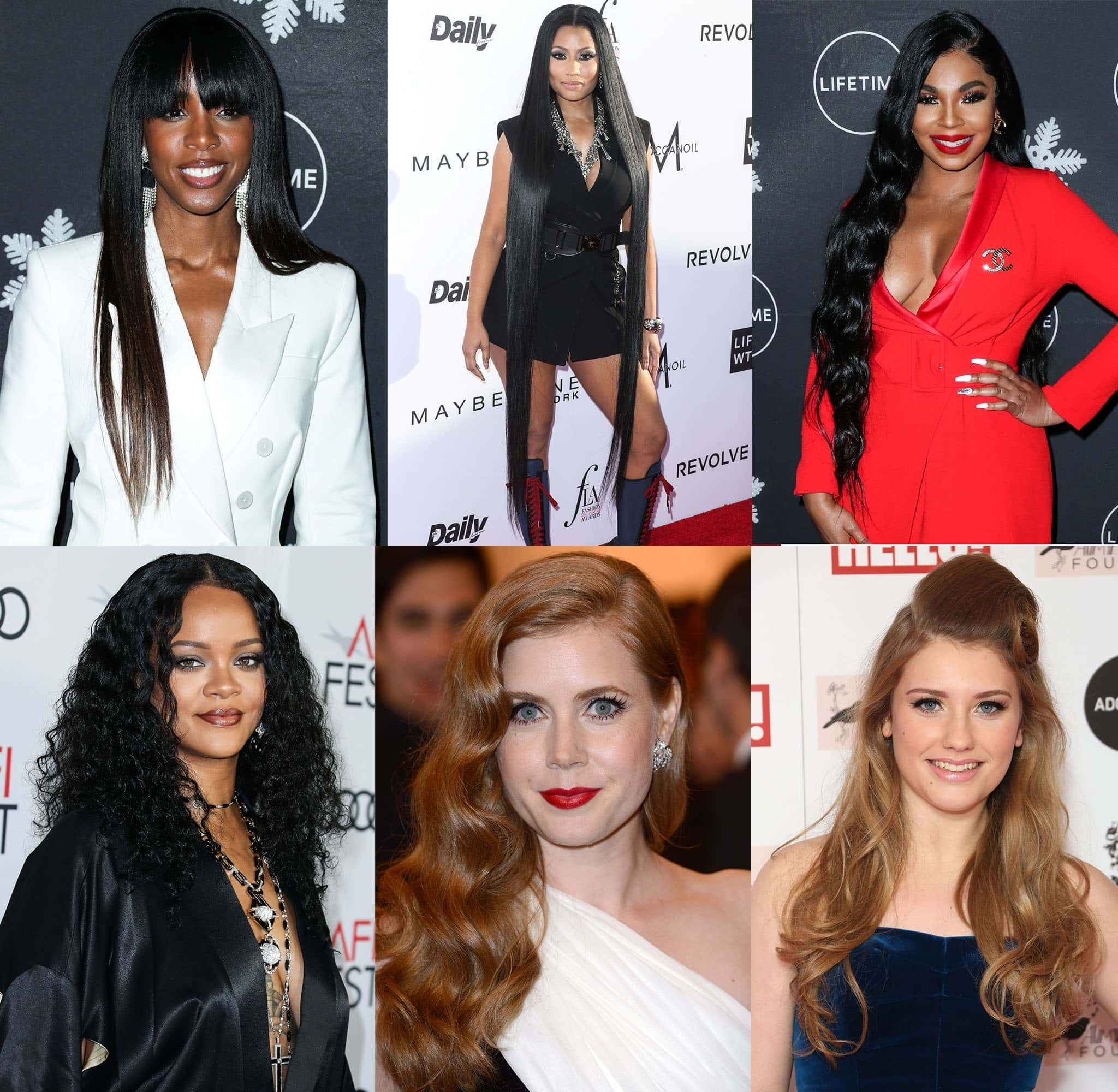 Celebrities, including (top left to right) Kelly Rowland, Nicki Minaj, Ashanti Douglas, (bottom left to right) Rihanna, Amy Adams, and Ella Henderson show off their gorgeous long, healthy tresses