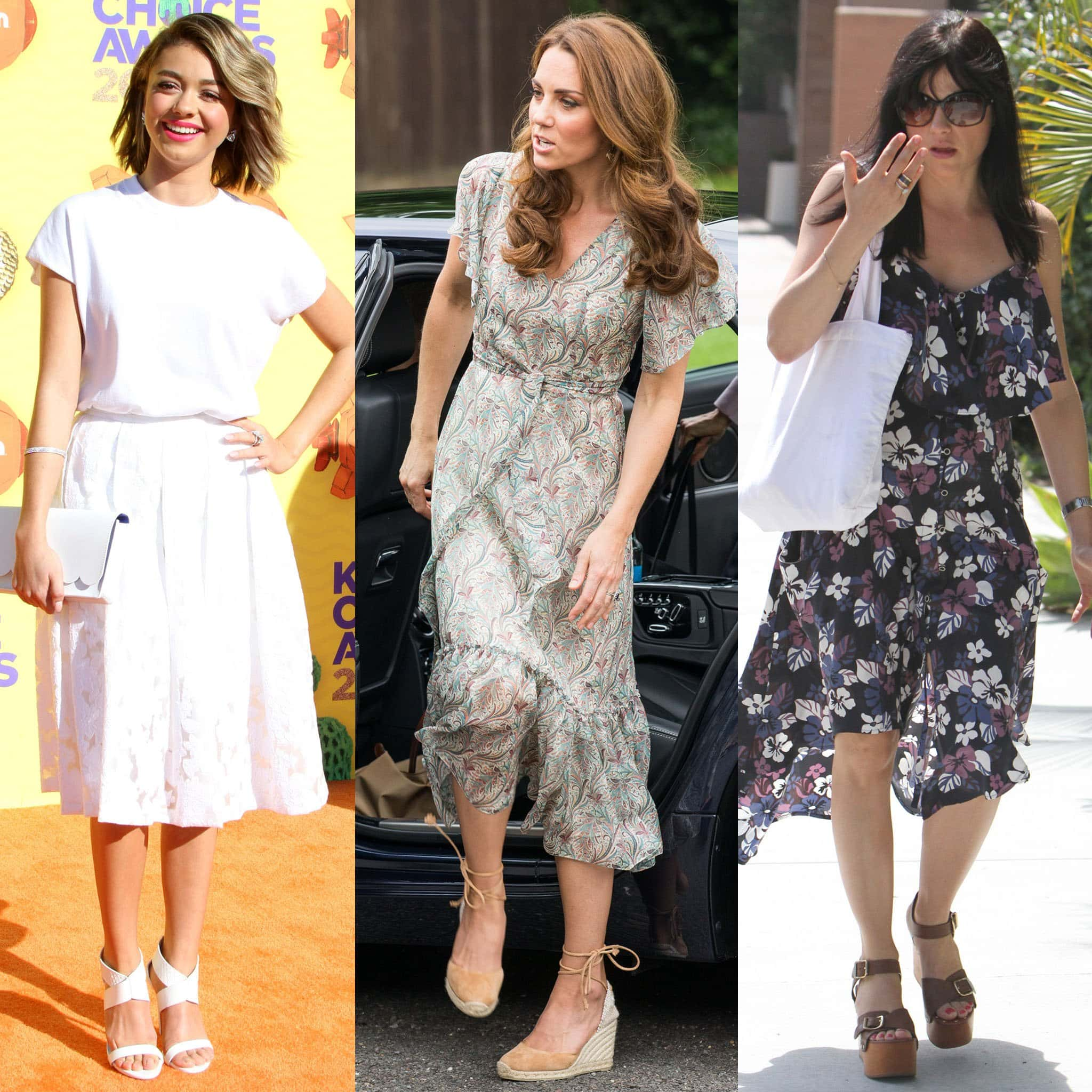 Sarah Hyland, Kate Middleton, and Selma Blair wears summer midi dresses with wedge sandals