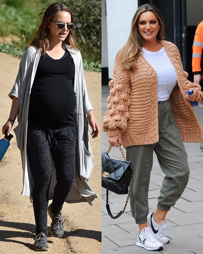 Jessica Alba and Kelly Brook pair their jogger pants with cardigans