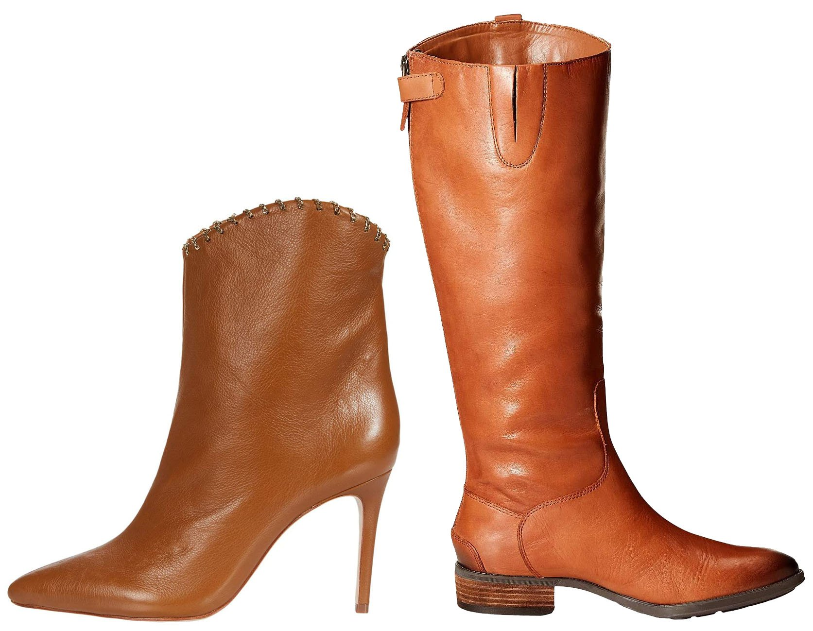 Riding boots (right) cover the calves and come up below the knees