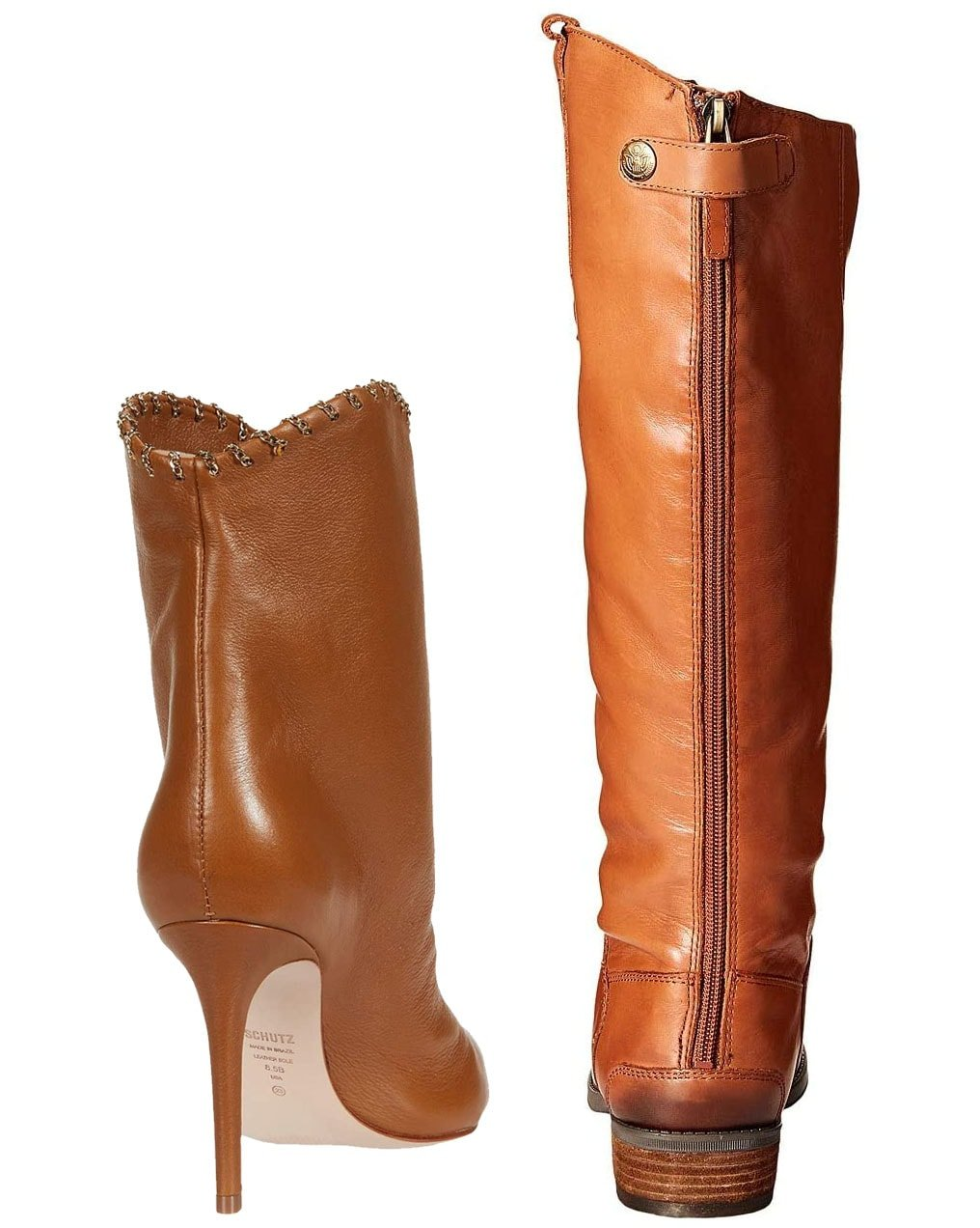 Regular boots (left) can incorporate stiletto heels, while riding boots (right) can only have less than two inches of stacked or blocked heels