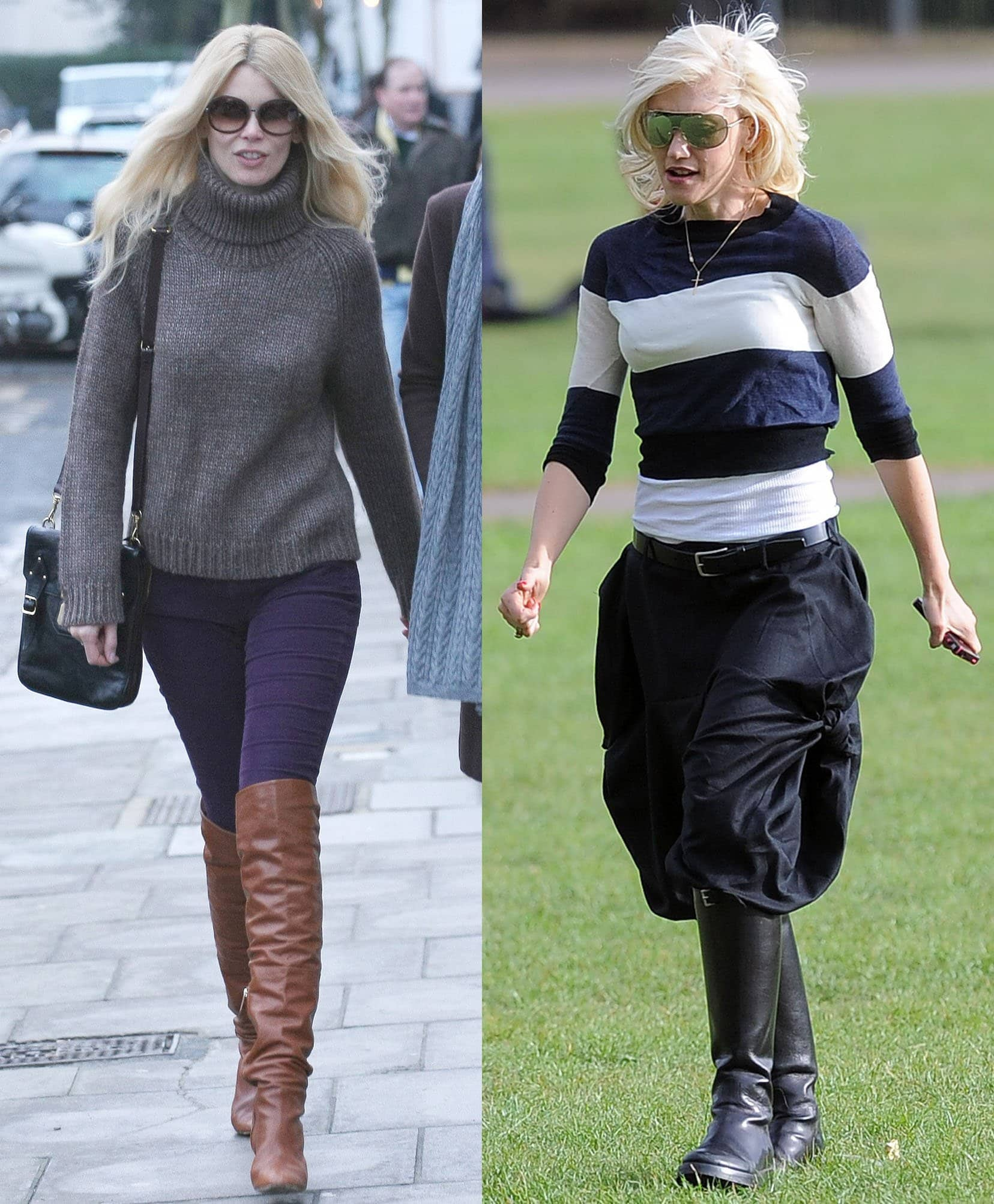 Claudia Schiffer and Gwen Stefani team their riding boots with knit sweater tops
