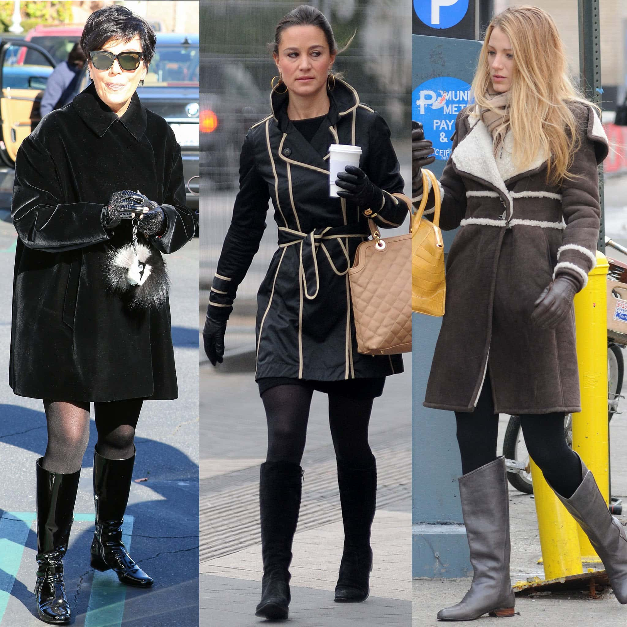 For the colder months, take it from Kris Jenner, Pippa Middleton, and Blake Lively and wear your riding boots with tights and winter coats