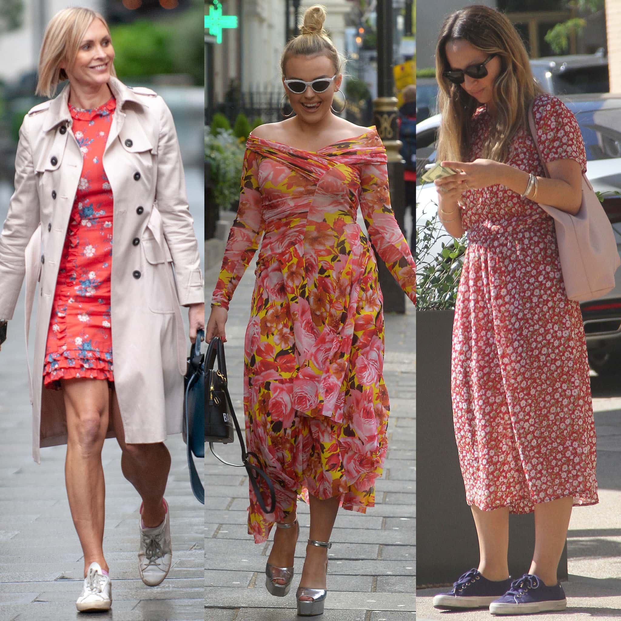 Jenni Falconer, Tallia Storm, and Jennifer Meyer pair their floral dresses with sneakers and peep-toe sandals
