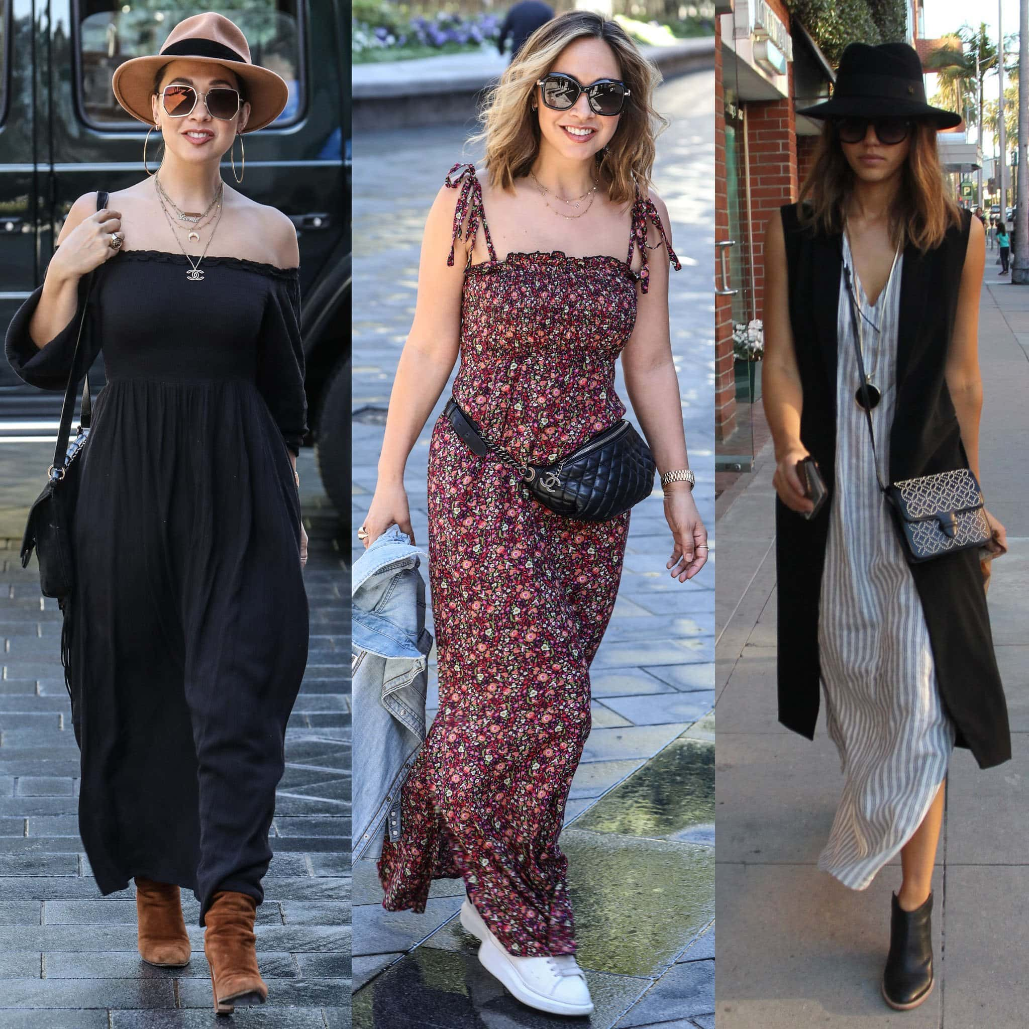 Myleene Klass and Jessica Alba wear maxi dresses with boots and sneakers