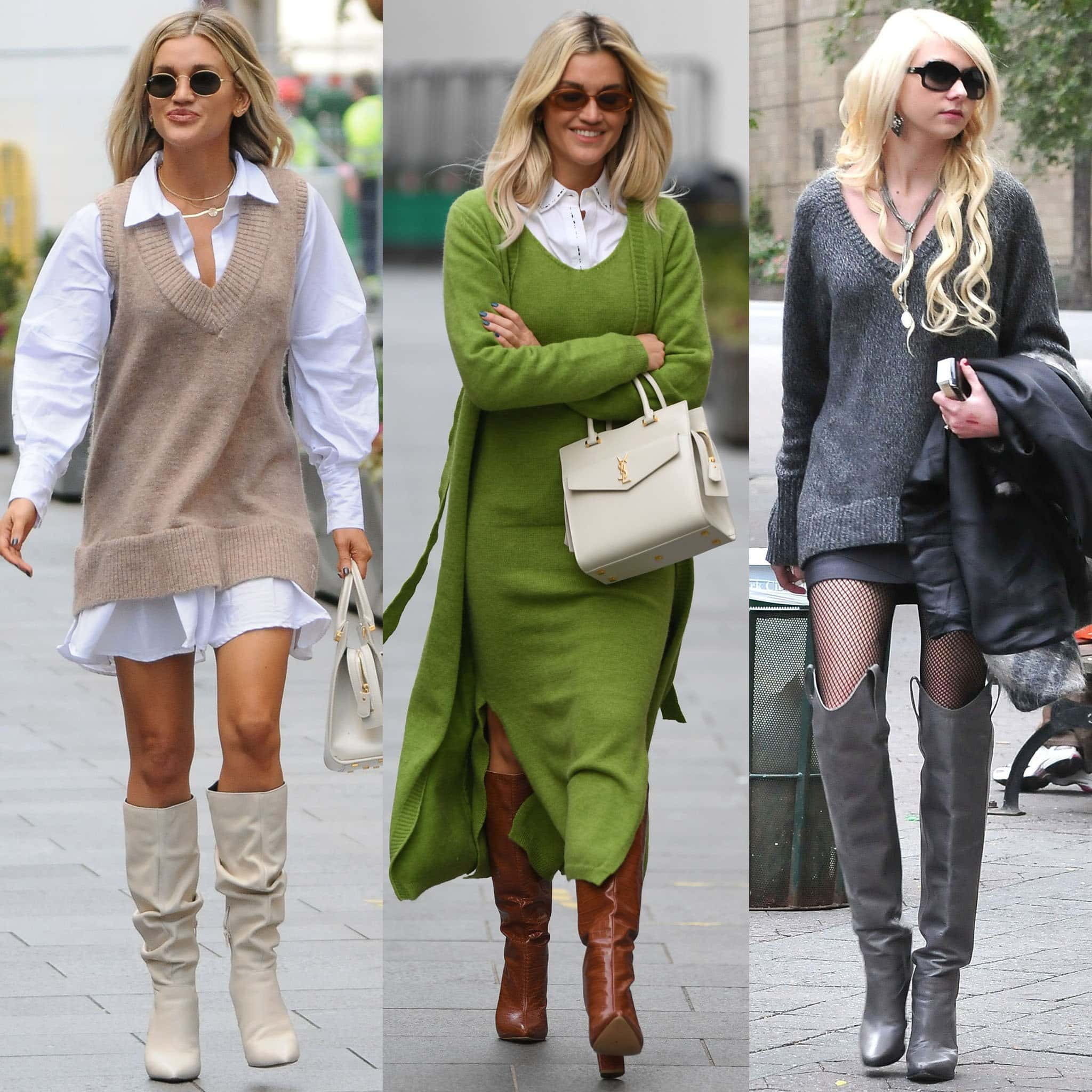 Sweater dresses look great with riding boots as shown by Ashley Roberts and Taylor Momsen