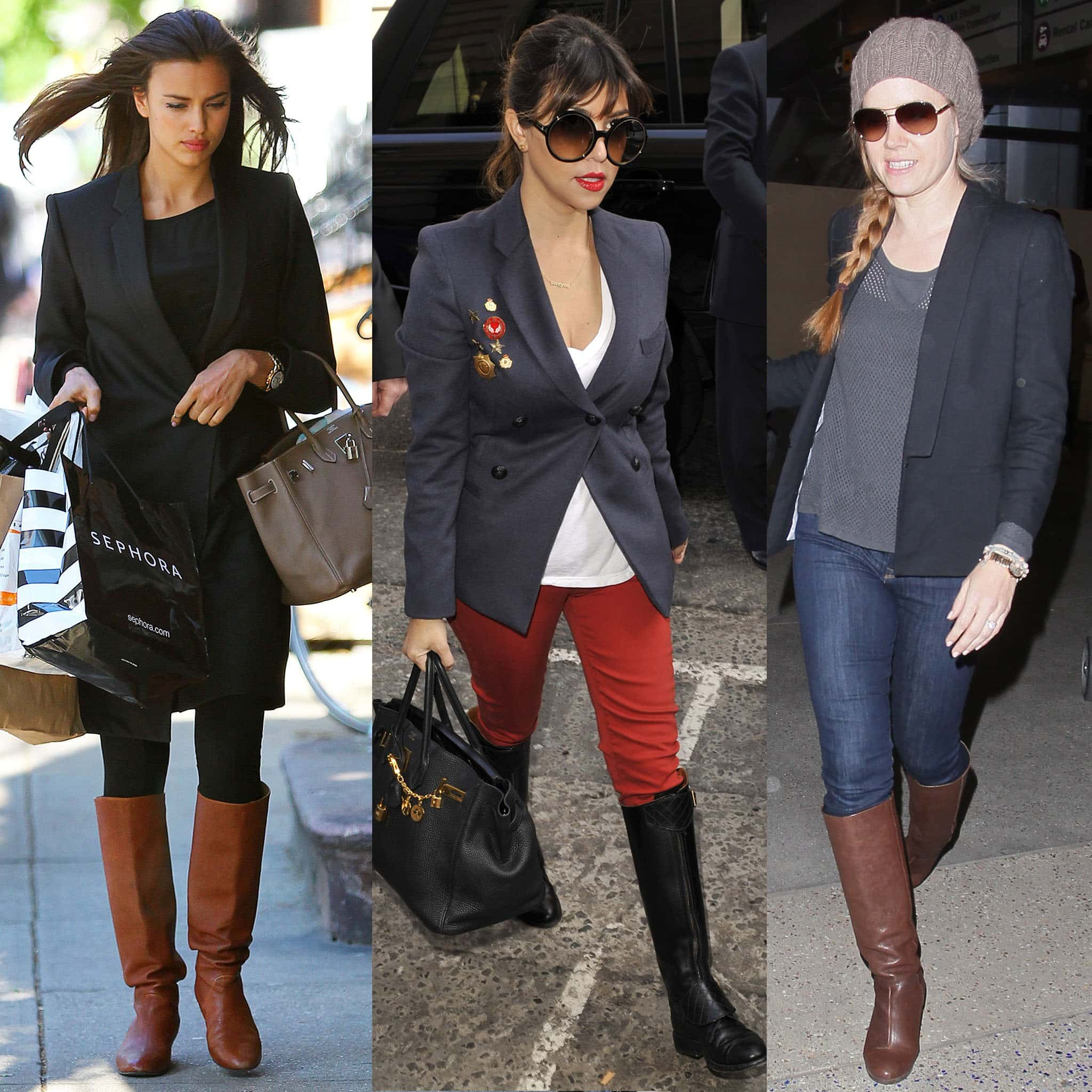 Irina Shayk, Kourtney Kardashian, and Amy Adams show how to wear riding boots with blazers for a chic office look