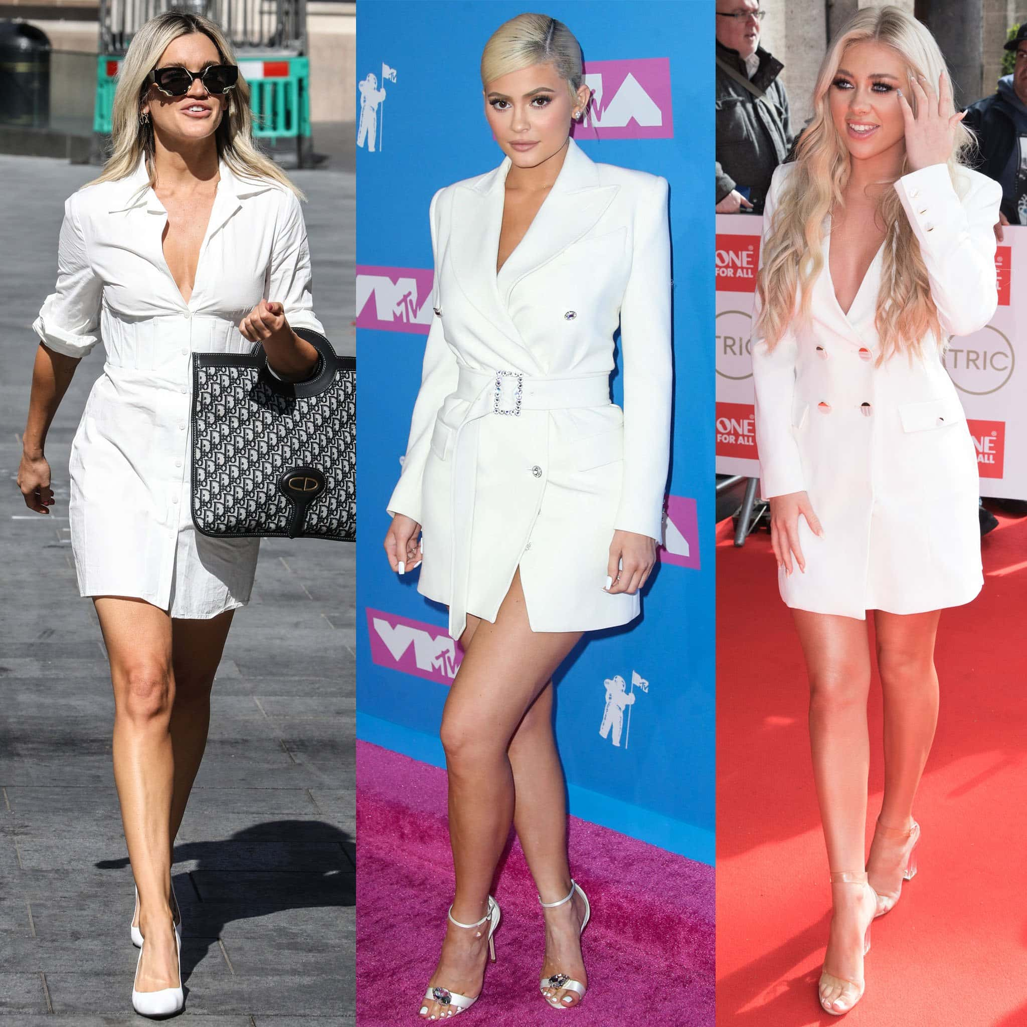 Ashley Roberts, Kylie Jenner, and Paige Turley show what shoes to wear with little white dresses