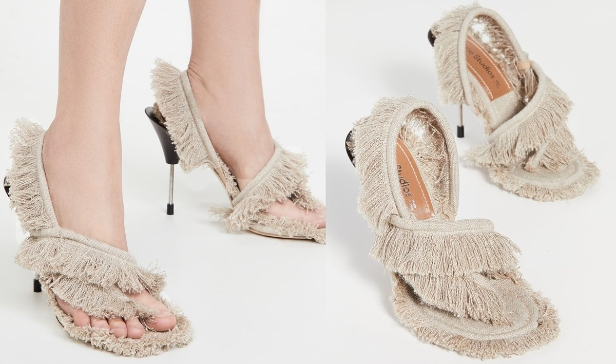 These Acne Studios ecru beige sandals are made of fringed linen fabric and feature a metal stiletto heel
