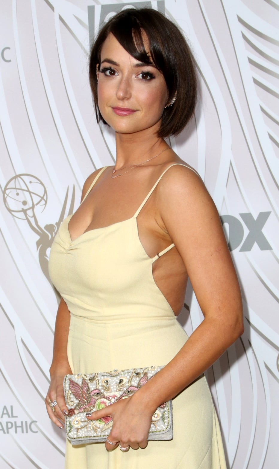 Actress Milana Vayntrub arrives at the FOX Broadcasting Company, Twentieth Century Fox Television, FX, and National Geographic 69th Primetime Emmy Awards After Party