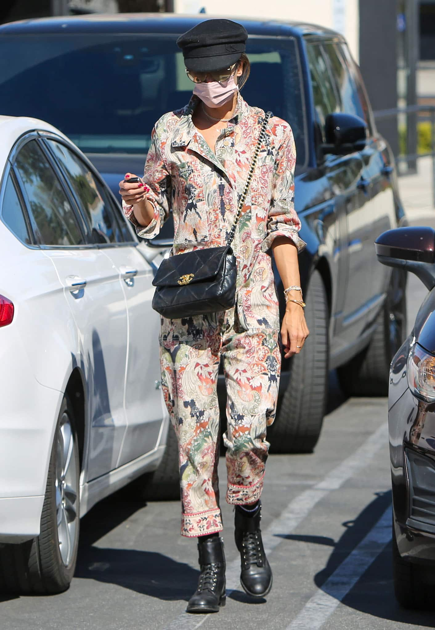 Alessandra Ambrosio in Chufy Yon jumpsuit while shopping in Los Angeles on March 1, 2021