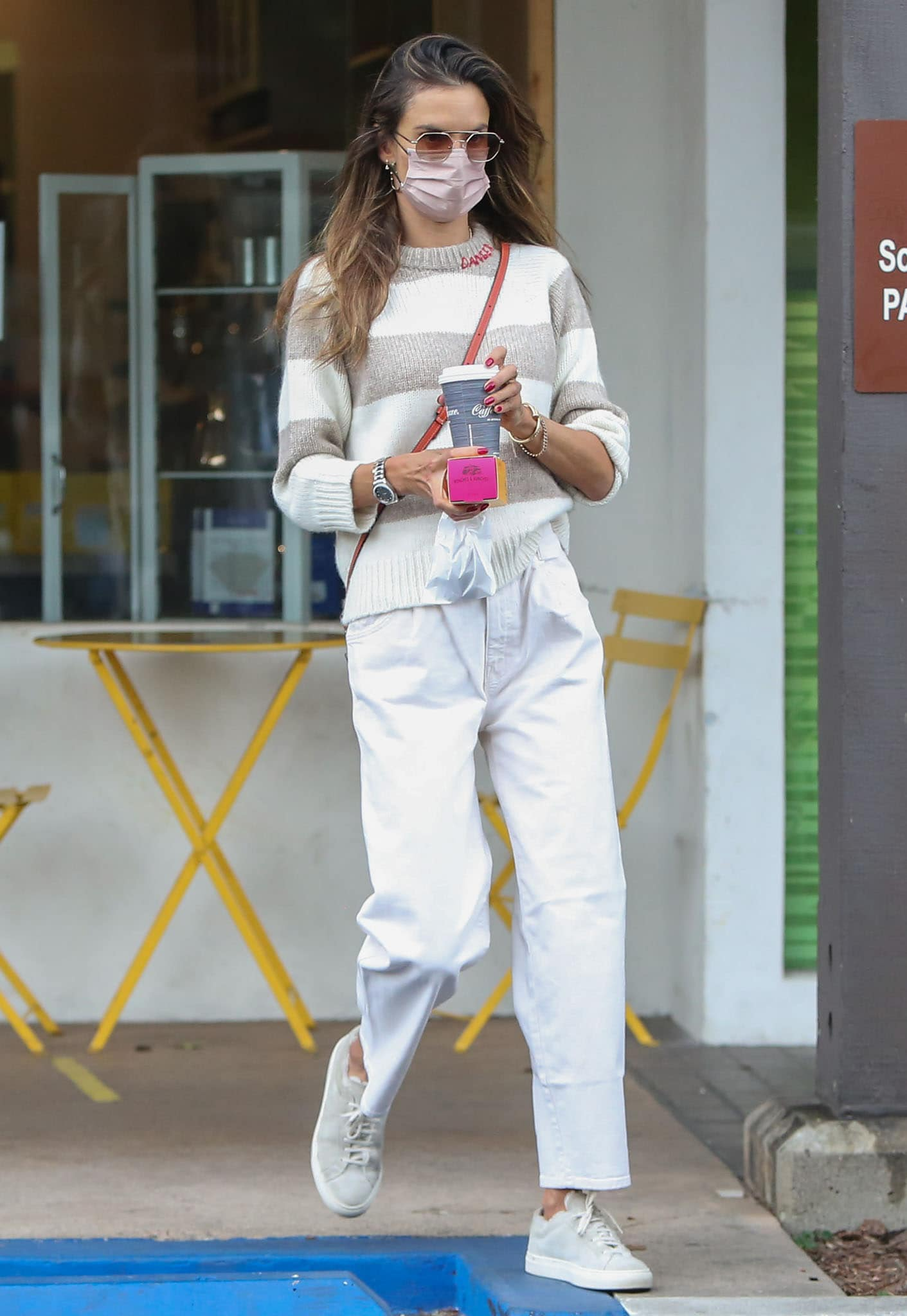 Alessandra Ambrosio goes on a solo shopping trip at Soul Cycle on March 3, 2021