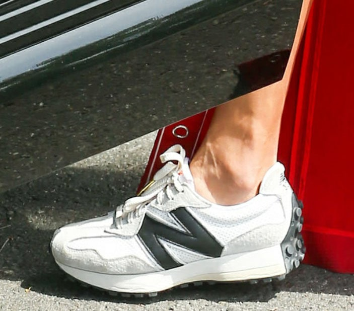 Alessandra Ambrosio completes her look with New Balance x Casablanca 327 shoes