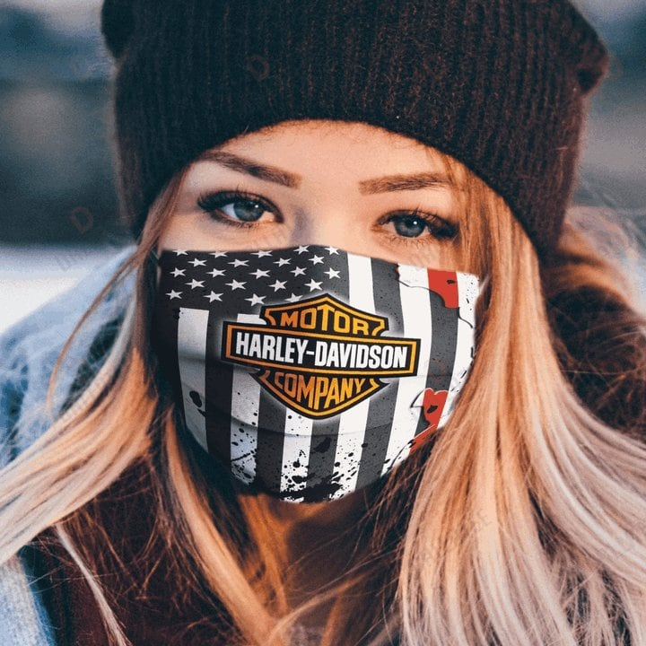 Harley-Davidson face mask featuring the American flag