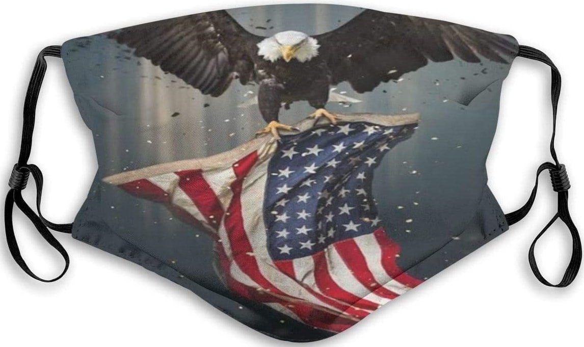 Patriotic and washable face mask with adjustable straps and 5-layer protection