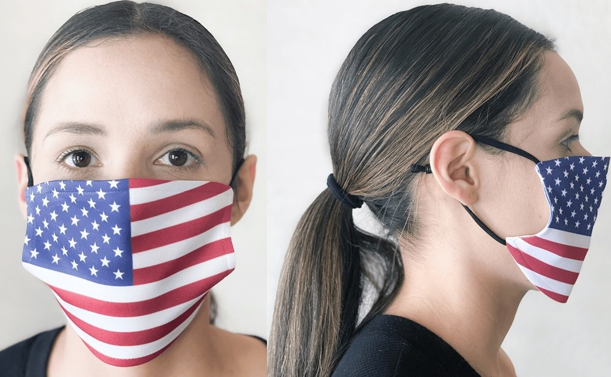 Be patriotic with this reusable and washable American flag print face mask featuring an interior filter pocket