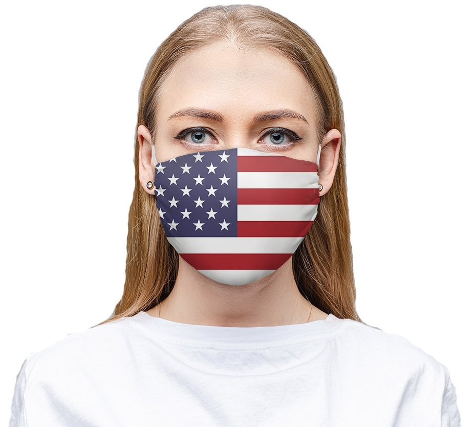 This washable and reusable American flag face mask includes soft ear straps