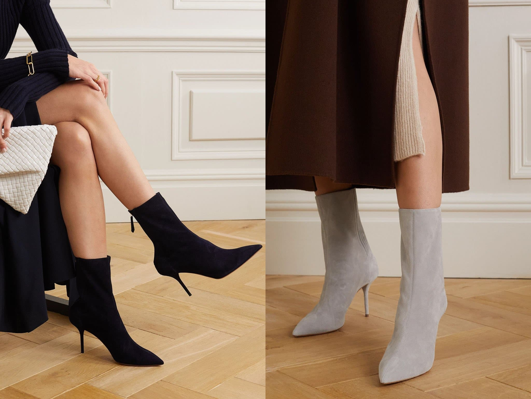Neutral-colored sock boots, like black, gray, and beige, are versatile and can be paired with anything in your closet