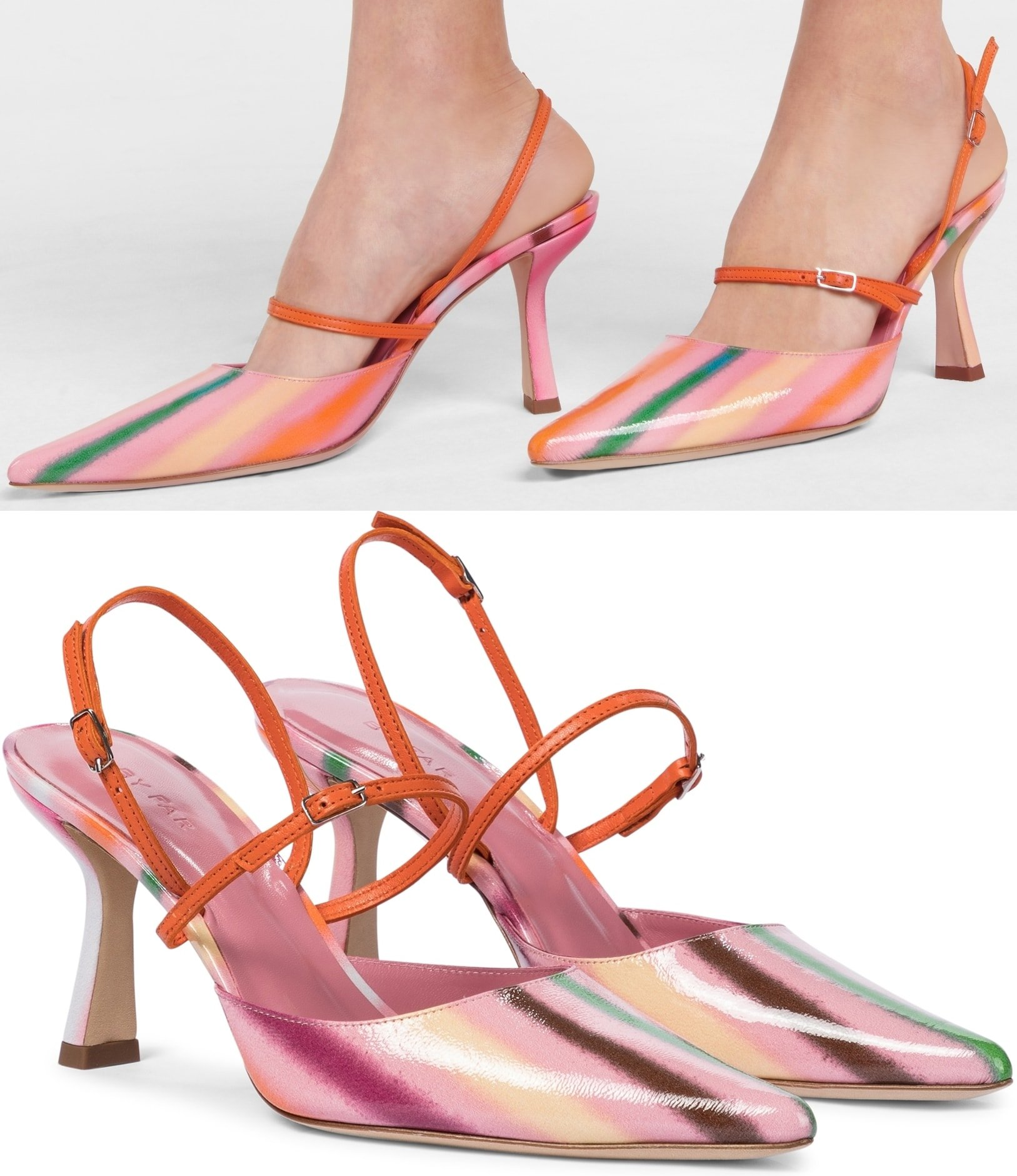 Made from glossy leather in pink candy stripes with orange straps, this pump has a pointed toe and a sculptural kitten heel
