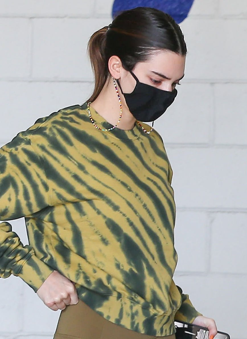Bare-faced Kendall Jenner stays safe with a Skims face mask