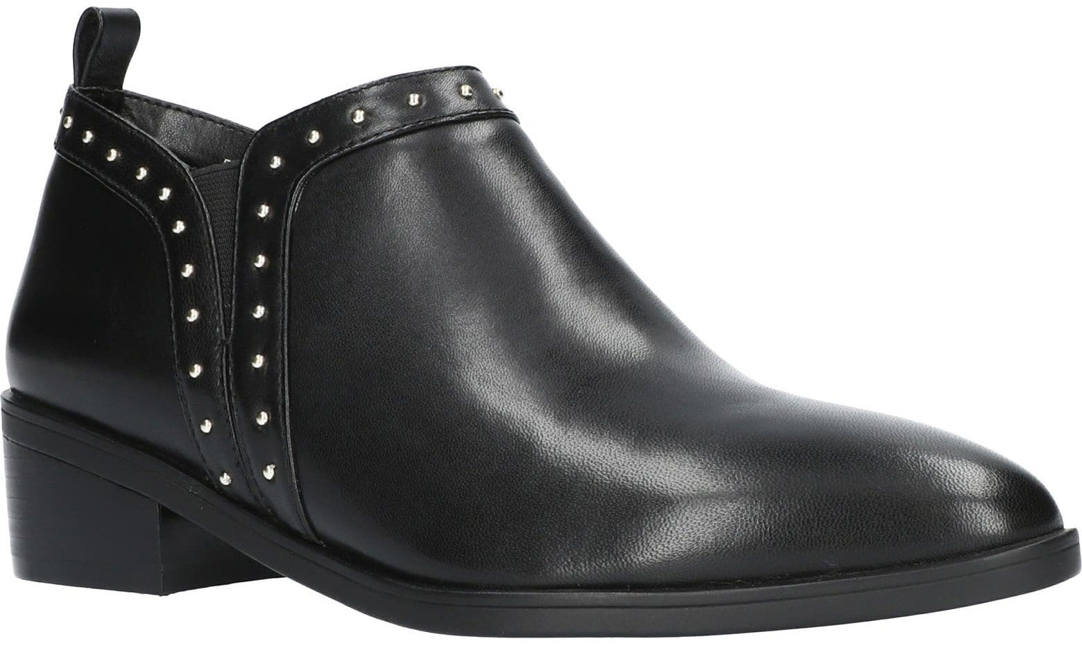 Tiny silver studs add edge to this versatile ankle bootie with gore insets and a low stacked heel for all-day comfort
