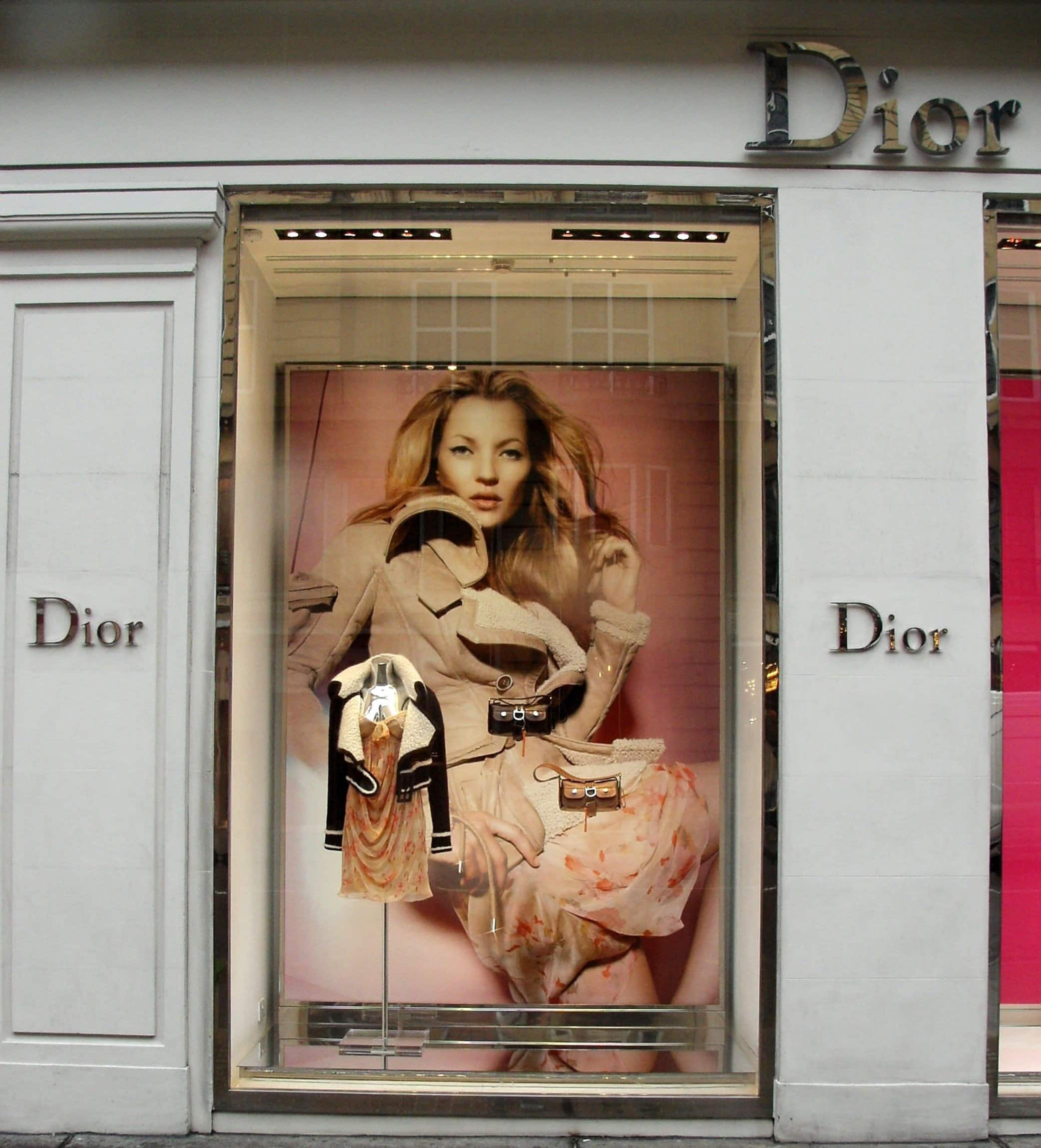Kate Moss appears in an advertising campaign for Dior in central London