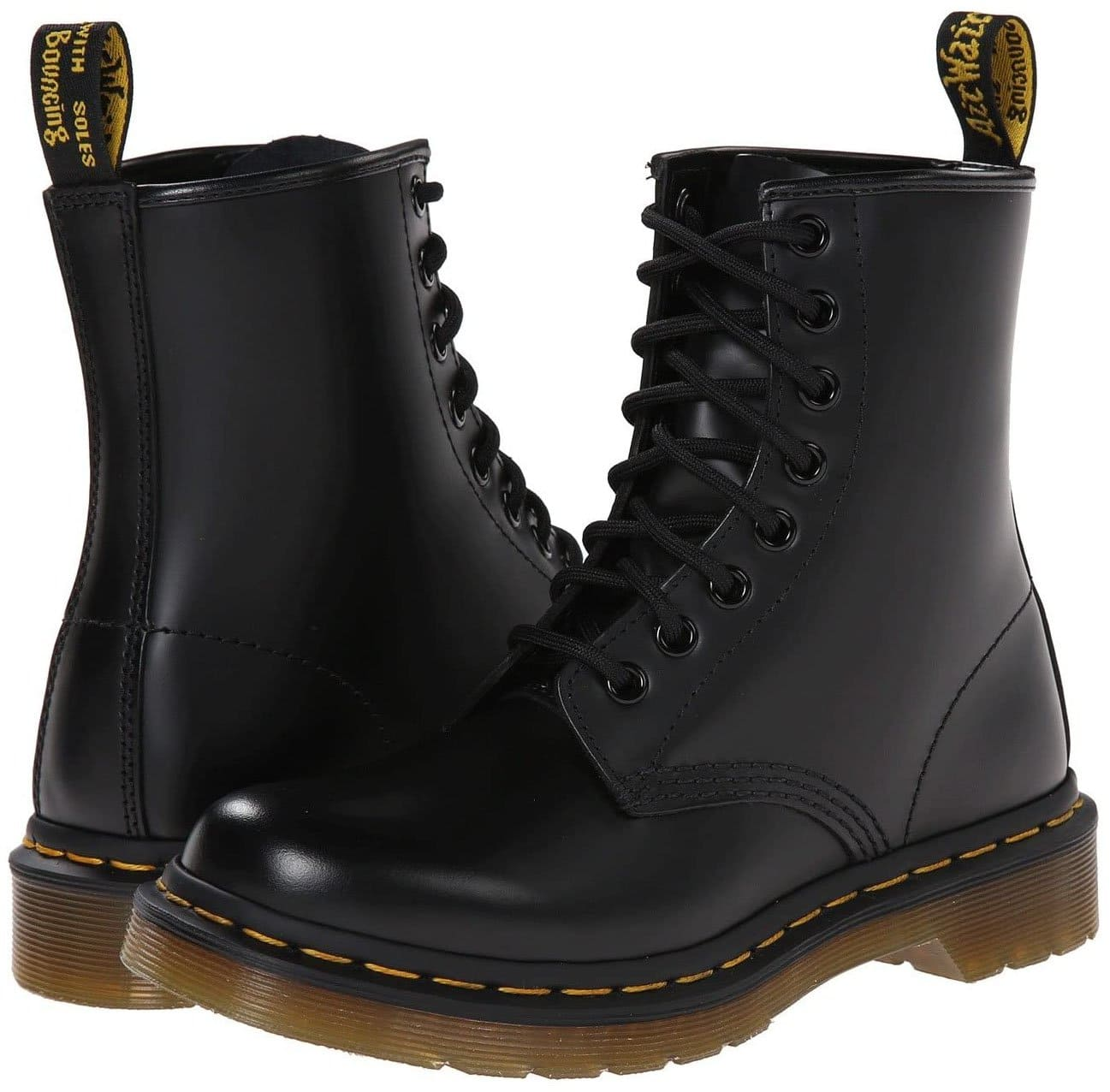 Dr. Martens 1460 is a classic favorite, featuring Docs' DNA with yellow stitching, heel loop, grooved sides, and Goodyear welt construction